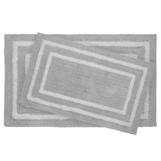 Jean Pierre Double Border Reversible Cotton 2PC Bath Mat Set