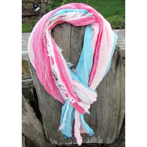 Red Pomegranate Pink and Baby Blue Turkish Cotton-blend All-season Fringed Scarf