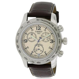 Tissot T-Sport V8 Brown Leather and Stainless Steel Chronograph Men's Watch