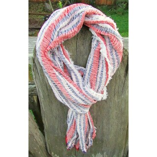 Red Pomegranate Navy/White/Red Turkish Cotton Blend Ultra-Soft Fringed Scarf