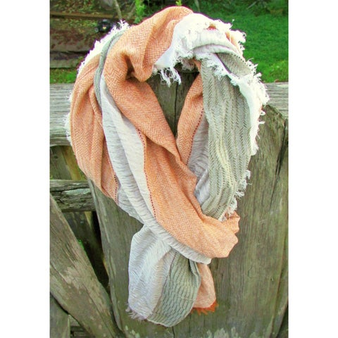Red Pomegranate Tobacco/Green/White Turkish Cotton Blend Ultra-Soft All-Season Tobacco/Green/White Fringed Scarf