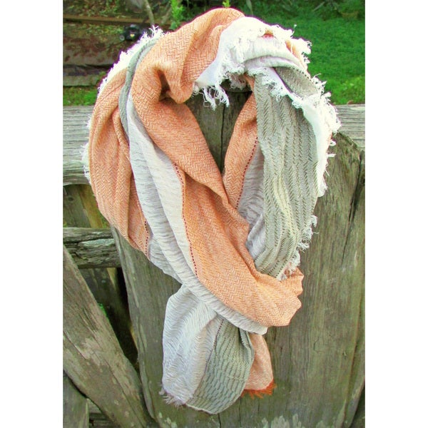 Red Pomegranate Tobacco/Green/White Turkish Cotton Blend Ultra-Soft All-Season Tobacco/Green/White Fringed Scarf. Opens flyout.