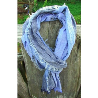 Red Pomegranate Blue Turkish Cotton Blend Ultra Soft All-season Degraded Fringed Scarf