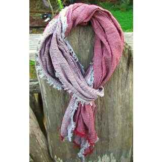 Red Pomegranate Burgundy/Grey Turkish Cotton Blend Ultra-Soft All-Season Fringed Scarf