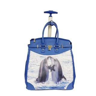Rollies Dolphin Print Blue Rolling 14-inch Laptop Travel Tote