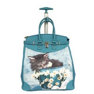Rollies Fall Asleep Kitten Princess Rolling 14-inch Laptop Travel Tote