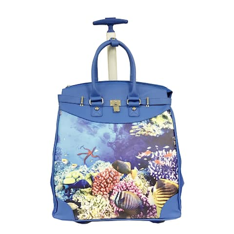"""Rollies Deep Sea Multicolor Synthetic Leather and Aluminum 14-inch Rolling Laptop Travel Tote - 13-15"""""""