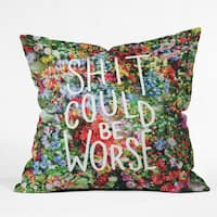 Sh*t Could Be Worse Floral Typography Throw Pillow