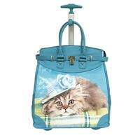 Rollies Elegant Kitten Blue 14-inch Rolling Laptop Travel Tote