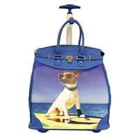 Rollies Surf Puppy Blue Synthetic Leather 14-inch Rolling Laptop Travel Tote