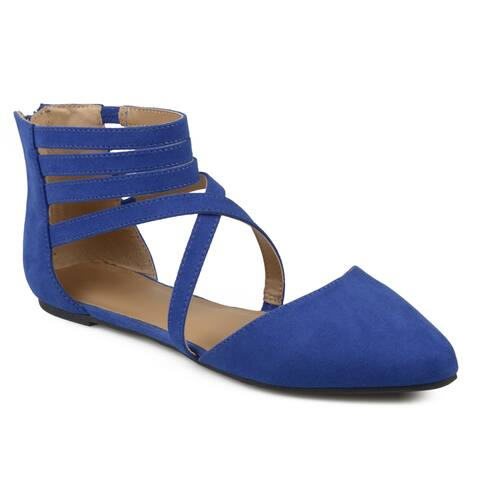 Journee Collection Women's 'Marlee' Wrap Strap Faux Suede Flats