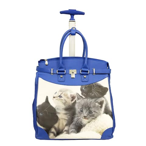 Rollies Kitten Rolling Blue 14-inch Laptop Travel Tote