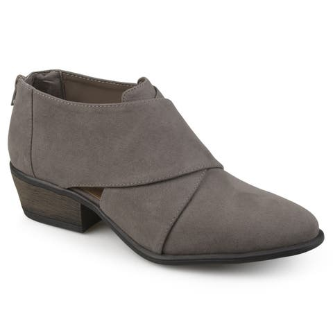 Journee Collection Womens Avryl Faux Suede Crossover Heeled Booties by  Purchase