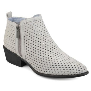 Journee Collection Women's 'Casidy' Laser-cut Side Zip Booties
