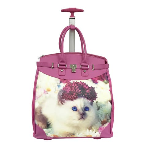 Rollies Snow White Kitten 14-inch Rolling Laptop Travel Tote