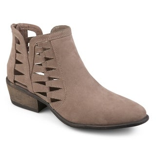 Journee Collection Women's 'Finley' Faux Suede Side Slit Cut-out Booties