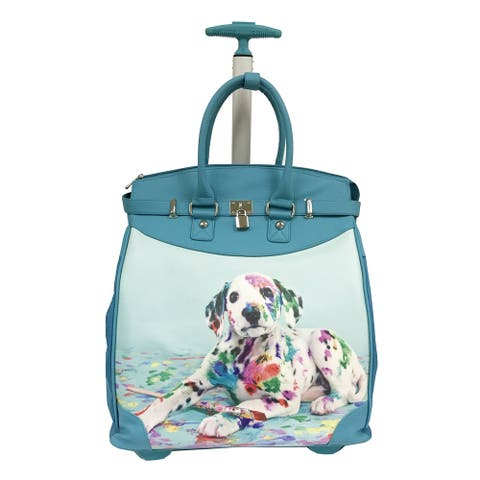 Rollies Dog Artist Rolling Blue 14-inch Laptop Travel Tote