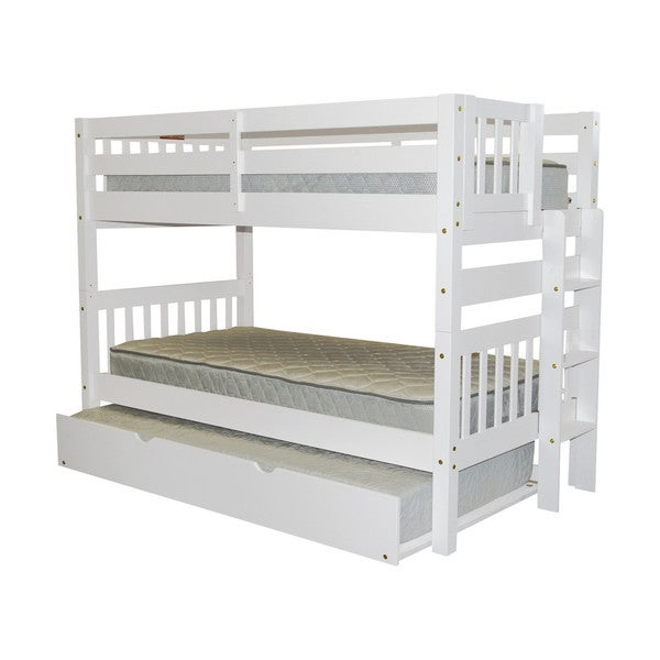 Bedz King Bunk Bed Twin over Twin with End Ladder and a Twin Trundle, White