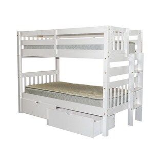 Bedz King Bunk Bed Twin over Twin with End Ladder and 2 Under Bed Drawers, White
