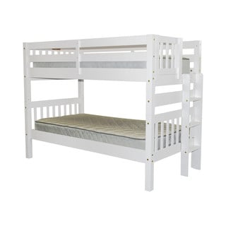 Bedz King White Pine Wood Twin-over-Twin Bunk Bed with End Ladder