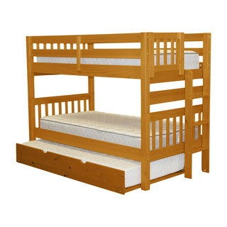 Bedz King Bunk Bed Twin over Twin with End Ladder and a Twin Trundle, Honey