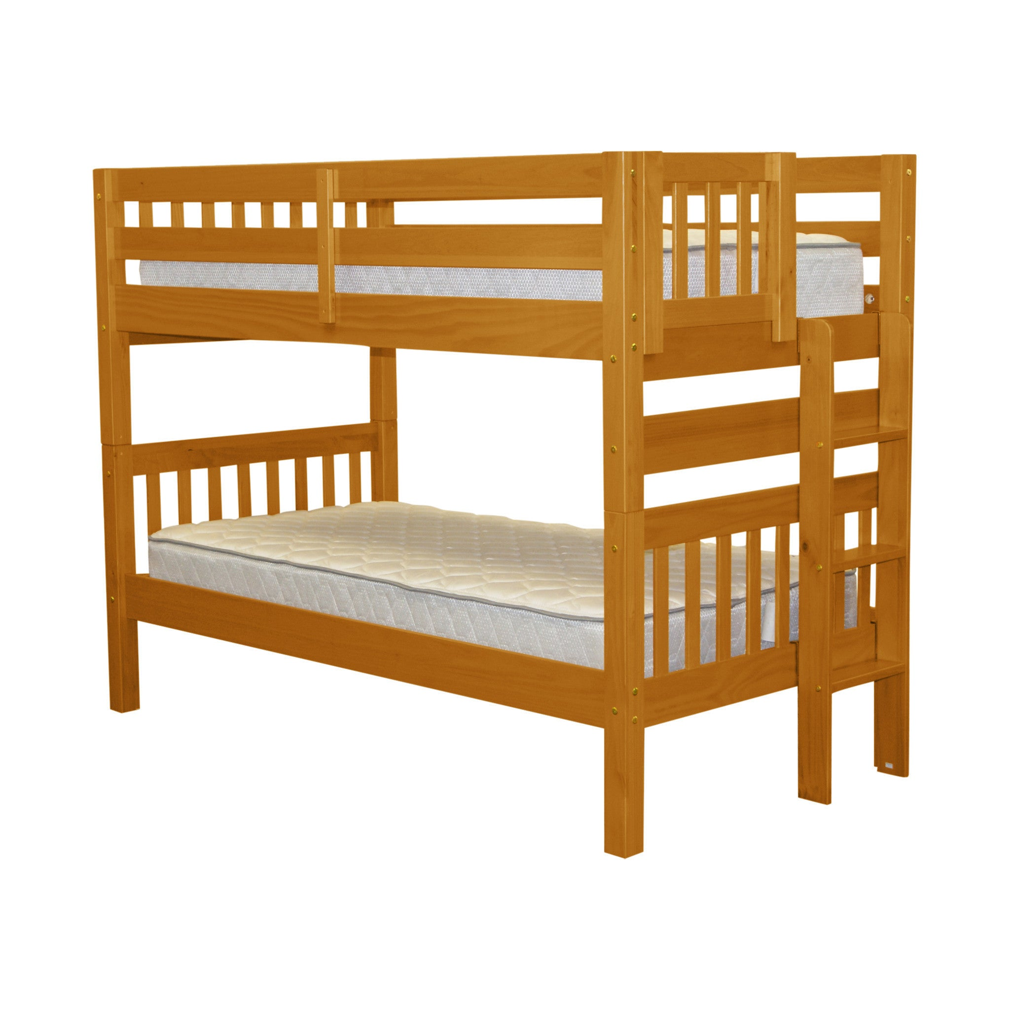 Bedz King Honey Wood Twin-over-Twin Bunk Bed with End Lad...