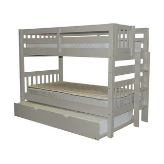 Bedz King Bunk Bed Twin over Twin with End Ladder and a Twin Trundle, Grey