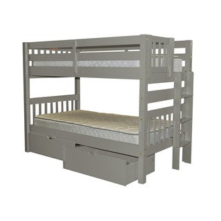 Bedz King Bunk Bed Twin over Twin with End Ladder and 2 Under Bed Drawers, Grey