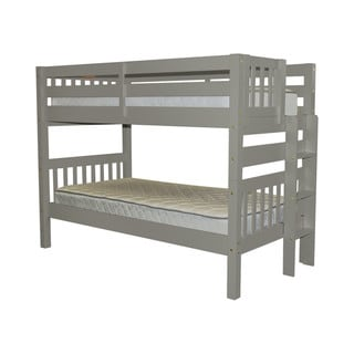 Bedz King Bunk Bed Twin over Twin with End Ladder, Grey