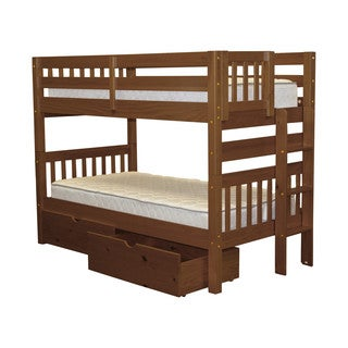 Bedz King Bunk Bed Twin over Twin with End Ladder and 2 Under Bed Drawers, Espresso