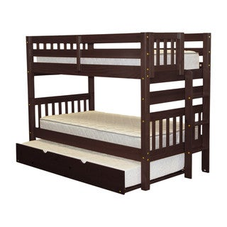 Bedz King Bunk Bed Twin over Twin with End Ladder and a Twin Trundle, Cappuccino
