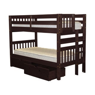 Bedz King Bunk Bed Twin over Twin with End Ladder and 2 Under Bed Drawers, Cappuccino