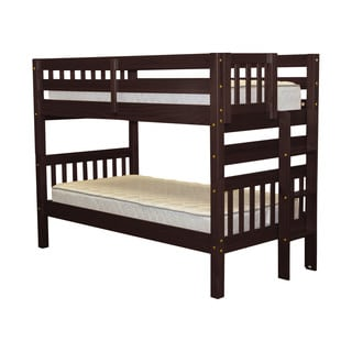 Bedz King Cappuccino Wood Twin-over-Twin Bunk Bed with End Ladder