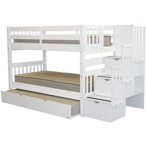 Bedz King Stairway Bunk Bed Twin over Twin with 3 Drawers in the Steps and a Twin Trundle, White