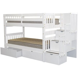 Bedz King Stairway Bunk Bed Twin over Twin with 3 Drawers in the Steps and 2 Under Bed Drawers, White