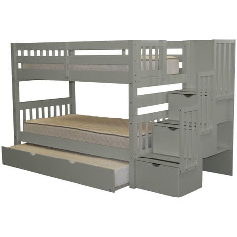 Bedz King Stairway Grey Wood Twin Bunk Bed with 3-Drawer Step Ladder and Trundle Bed
