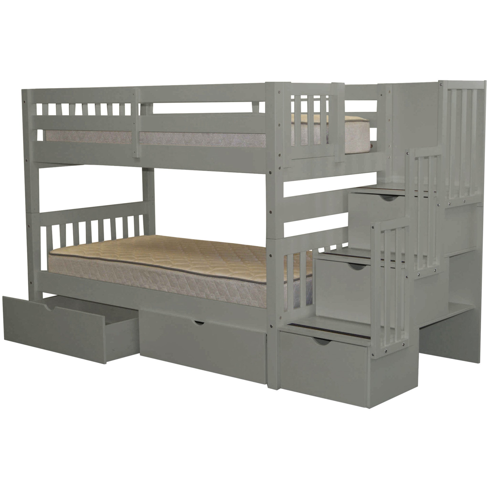 Taylor Olive Trillium Twin Over Grey Bunk Bed With Storage Drawers