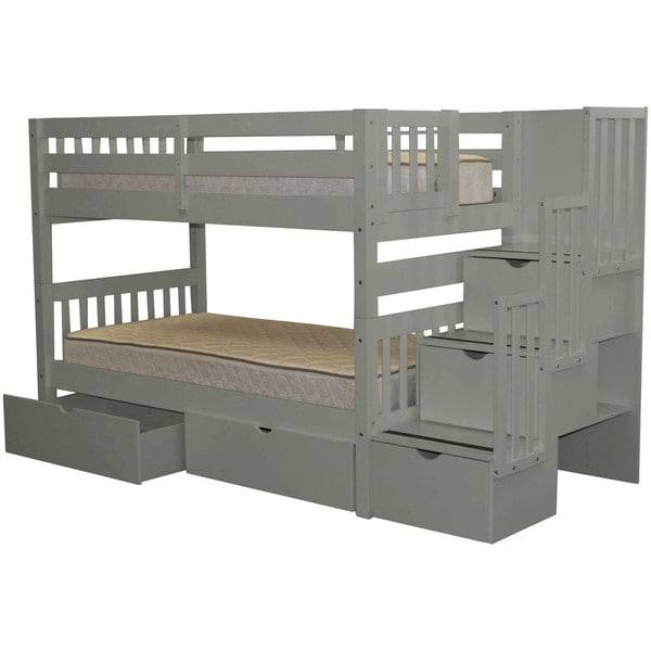Elegant Bedz King Stairway Bunk Bed Twin Over Twin With 3 Drawers In The Steps And 2