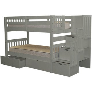Bedz King Stairway Bunk Bed Twin over Twin with 3 Drawers in the Steps and 2 Under Bed Drawers, Grey