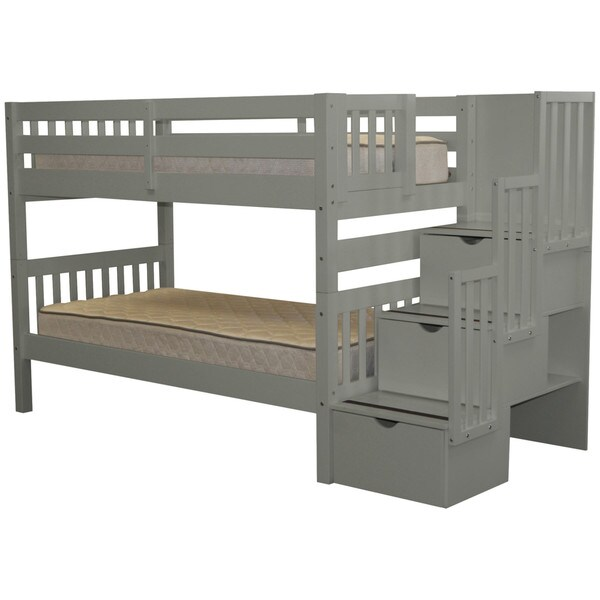 Bedz King Stairway Bunk Bed Twin Over Twin With 3 Drawers In The Steps, Grey