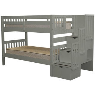 Bedz King Stairway Grey Wood Twin Bunk Bed with 3-Drawer Step Ladder