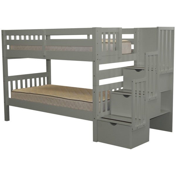 Taylor & Olive Trillium Twin-over-Twin Grey Bunk Bed
