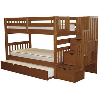 Bedz King Stairway Espresso Wood Twin Bunk Bed with 3-Drawer Step Ladder and Trundle Bed
