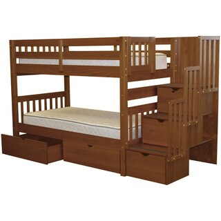 Bedz King Stairway Bunk Bed Twin over Twin with 3 Drawers in the Steps and 2 Under Bed Drawers, Espresso