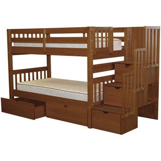 Taylor & Olive Trillium Twin-over-Twin Espresso Bunk Bed with Storage Drawers