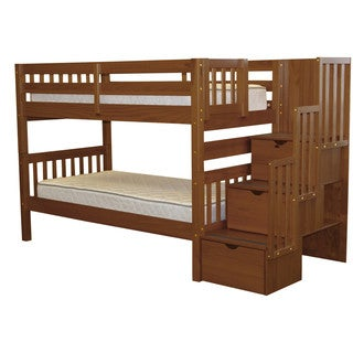 Bedz King Stairway Bunk Bed Twin over Twin with 3 Drawers in the Steps, Espresso