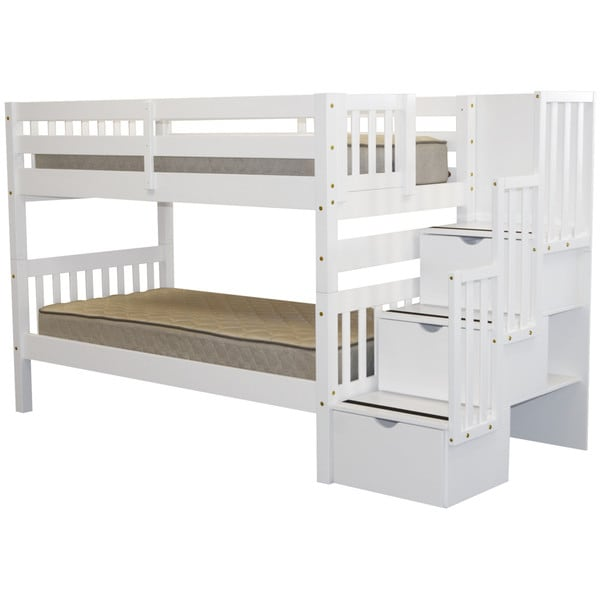 Bedz King Stairway Bunk Bed Twin Over Twin With 3 Drawers In The Steps,  White
