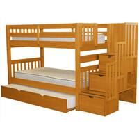 Bedz King Stairway Bunk Bed Twin over Twin with 3 Drawers in the Steps and a Twin Trundle, Honey