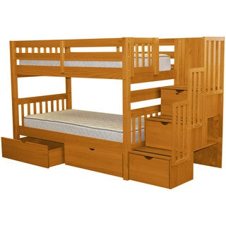 Bedz King Stairway Honey Wood Twin Bunk Bed with 3-Drawer Step Ladder and 2 storage drawers