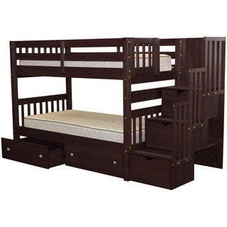 Bedz King Stairway Bunk Bed Twin over Twin with 3 Drawers in the Steps and 2 Under Bed Drawers, Cappuccino